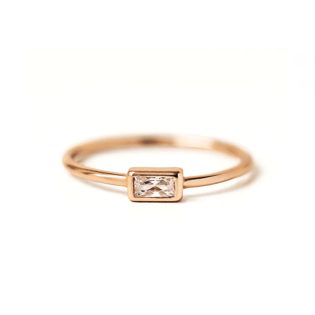 Minimal Rose Gold Baguette Ring
