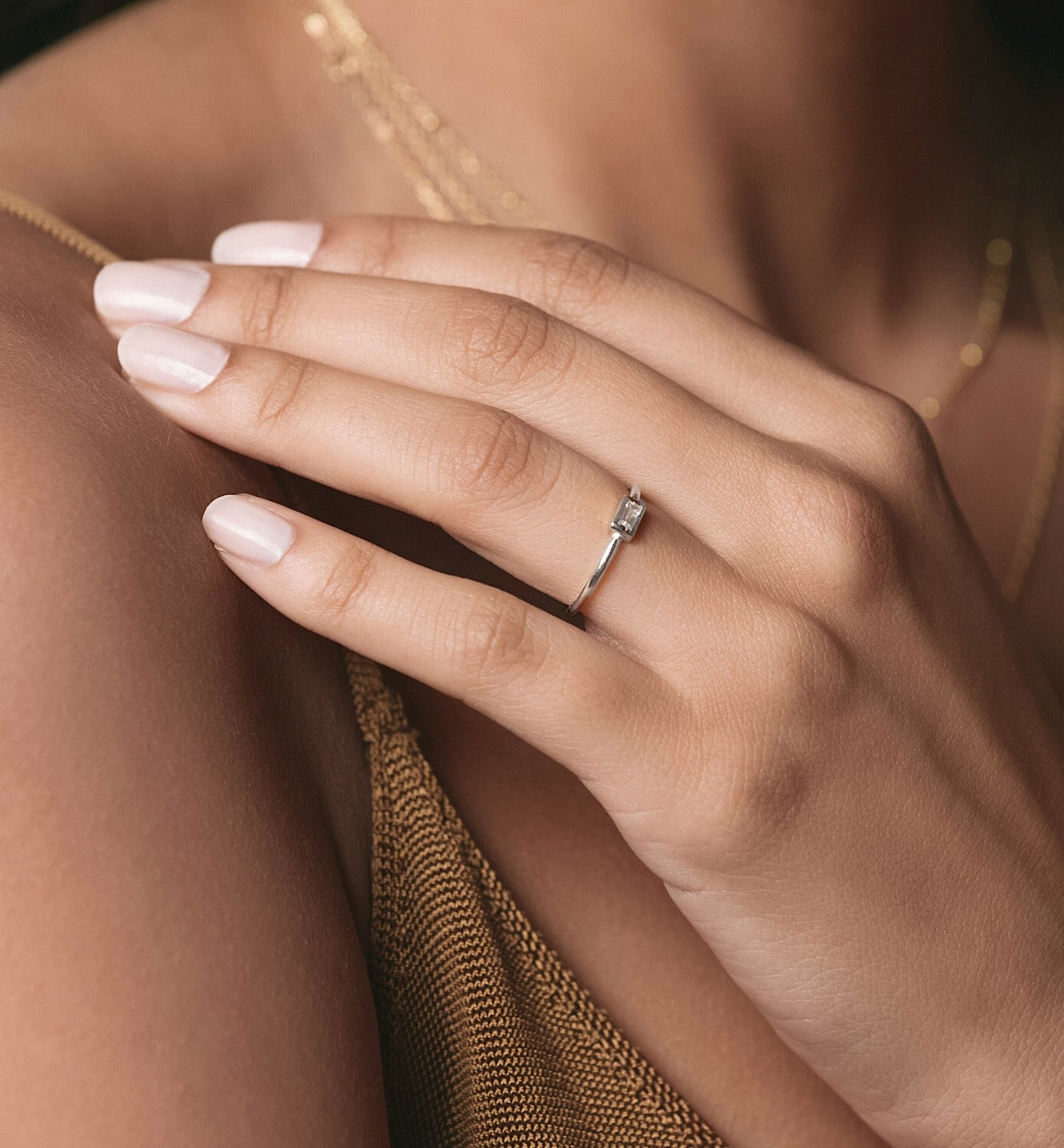 Dainty Silver Baguette Ring with CZ Stone Center