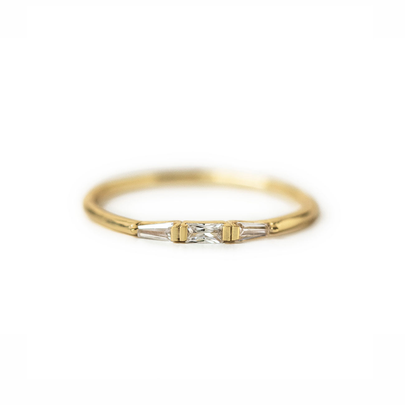 Dainty Gold Baguette Ring