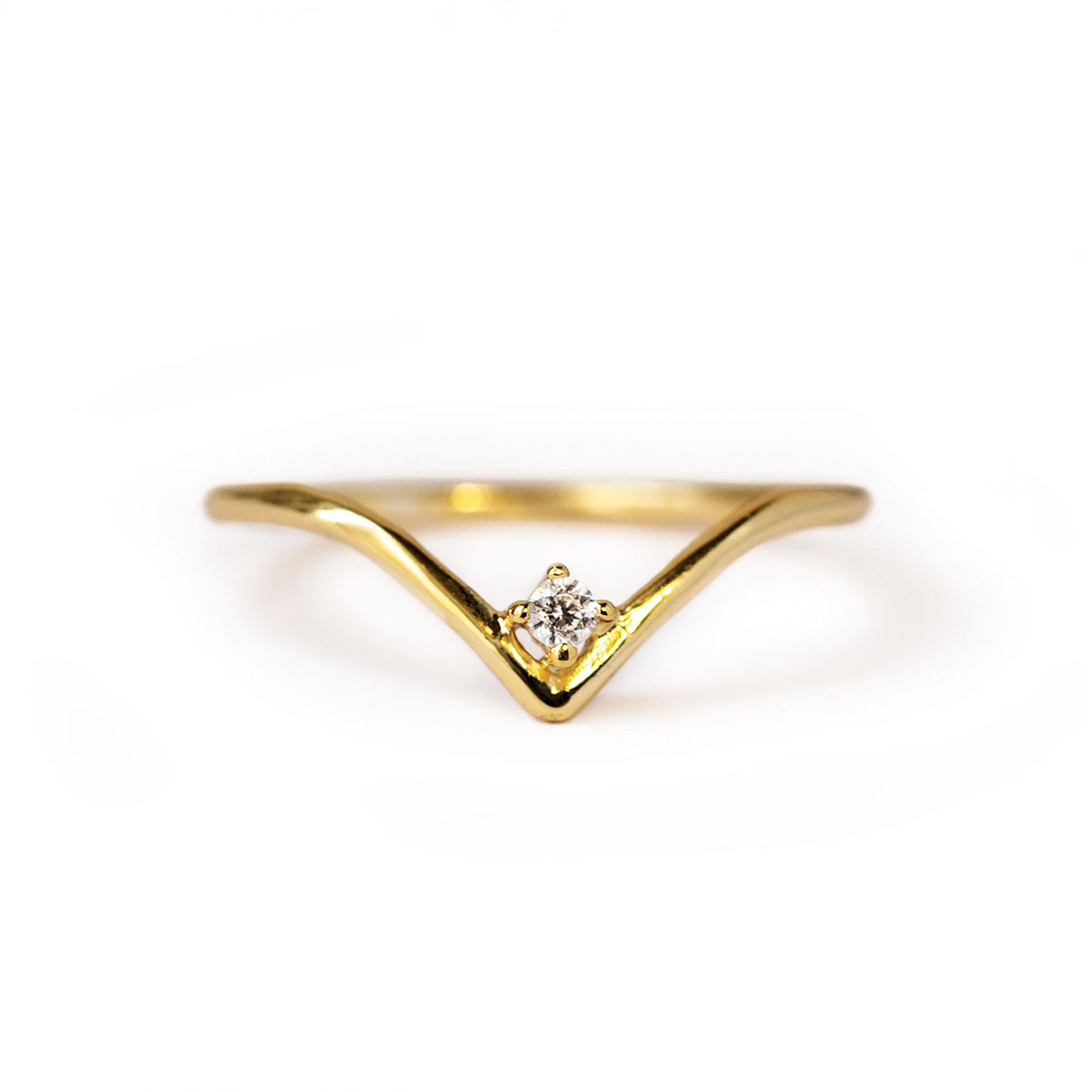 Gold Chevron Ring with Cubic Zirconia Stone