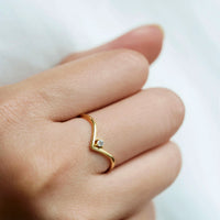 Gold Chevron Ring being worn on finger