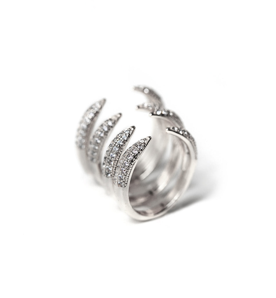 Cage Silver Pave Ring Set, Rings - AMY O. Jewelry