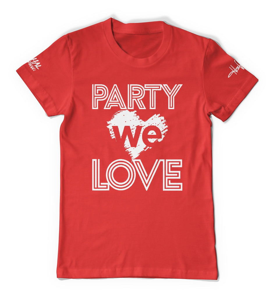 Red w/white Unisex Party we love T-Shirt