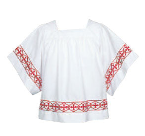 Surplice - Red Cross Design - Square Yoke - AB113B