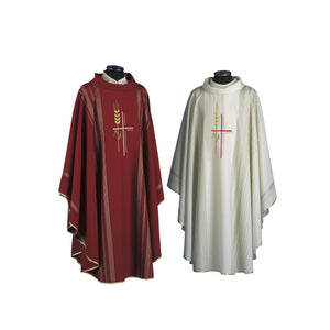 Cross and Wheat Chasuble | Linea Style Fabric | Pure Soft Wool | SLV216