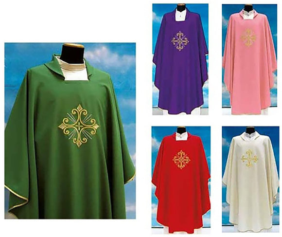 Embroidered Chasuble - Square Collar - Primavera Fabric - SLV351