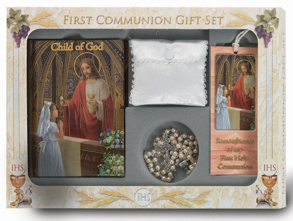 GIRL'S 6 PIECE DELUXE FIRST COMMUNION GIFT SET