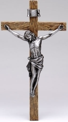 Antique-Silver-Wall-Crucifix-8.5""
