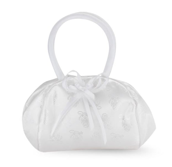 WHITE SATIN CHALICE BROCADE PURSE WITH BOW