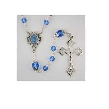BLUE CRYSTAL ROSARY, BOXED
