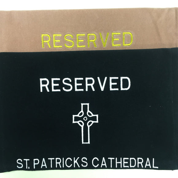 Custom Made Pew Reserve Signs