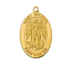 "St. Michael Medal - Gold Sterling Silver w. 20"" Chain & Gift Box"
