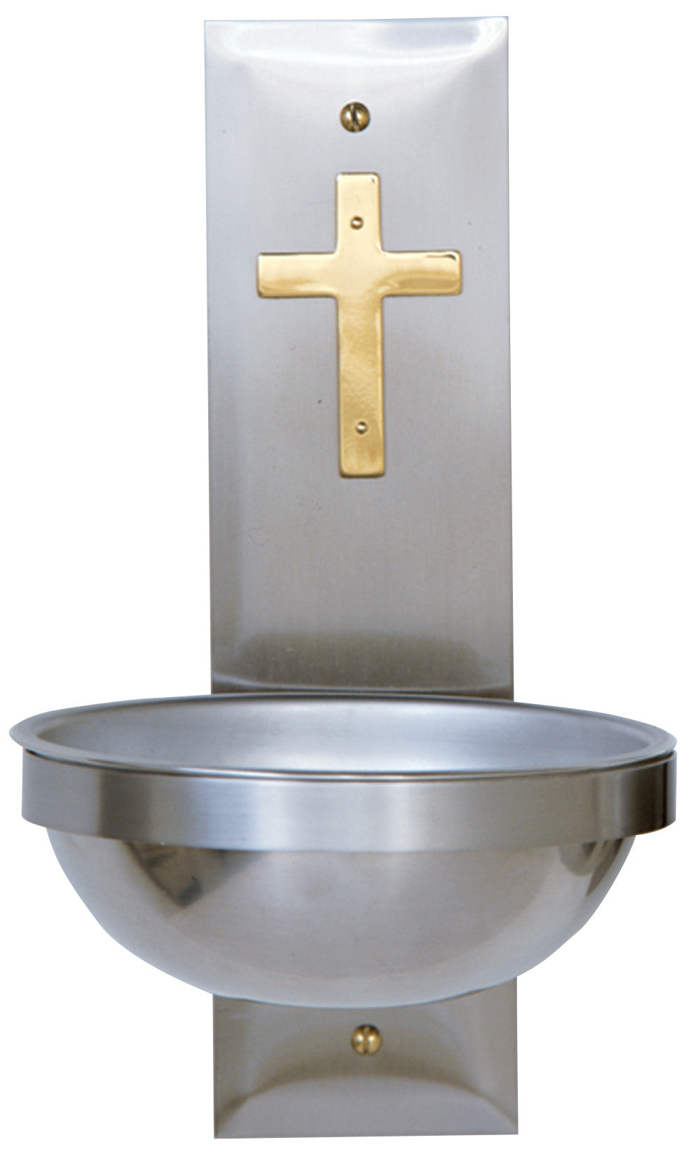 Holy Water Font - Stainless Steel w. Brass - K149