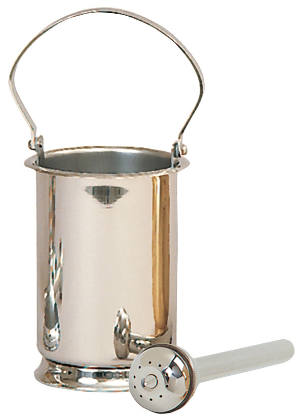 Holy Water Pot and Sprinkler - Stainless Steel - K189