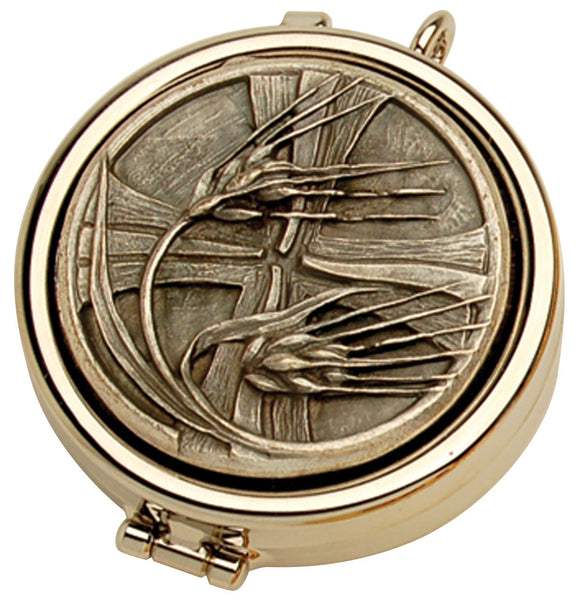 Pyx - Nickel Plate - Wheat and Cross Design - K86