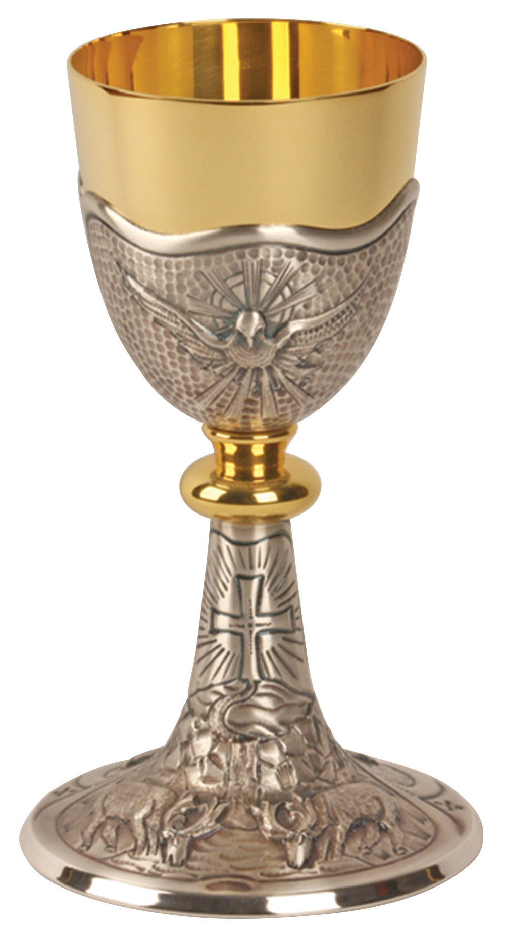 Chalice and Ciborium - Gold plated and Silver - Holy Spirit/Grapes/Leaf