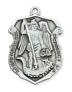 "St. Michael Sterling Silver Medal w. 24"" Chain and Gift Box"