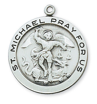 "St. Michael Medal - Sterling Silver - 24"" Chain and Gift Box"