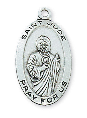 "Saint Jude Sterling Silver Medal - 18"" Chain and Gift Box"