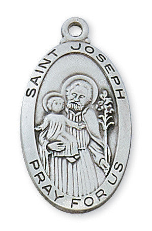 "St. Joseph Sterling Silver Medal - 24"" Chain and Gift Box"