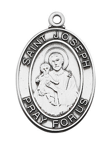 "St. Joseph Sterling Silver Medal - 24"" Rhodium Chain and Red Velour Gift Box"