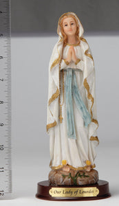 "8"" Our Lady of Lourdes Statue - Hand Painted"