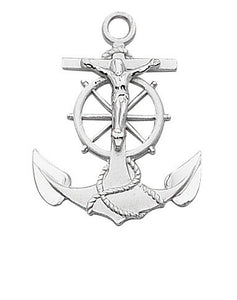 "Sterling Silver Anchor Crucifix - 24"" Chain and Gift Box"
