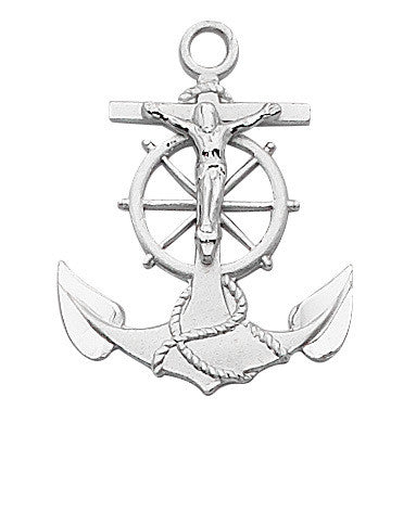 Sterling Silver Anchor Crucifix - 24