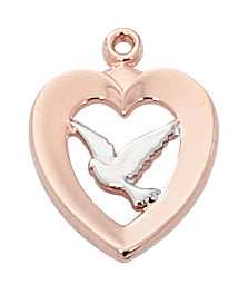 Two Tone Holy Spirit in Heart Necklace