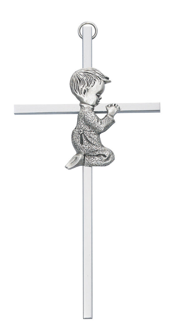 Silver Tone Cross with Praying Boy - 6in