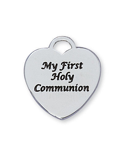 First Communion Heart Pendant - Sterling Silver