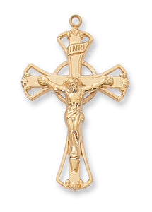 "Gold Sterling Silver Crucifix - 18"" Chain and Gift Box"