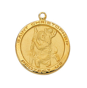 "Saint Christopher Gold Sterling Silver - 18"" Chain and Gift Box"