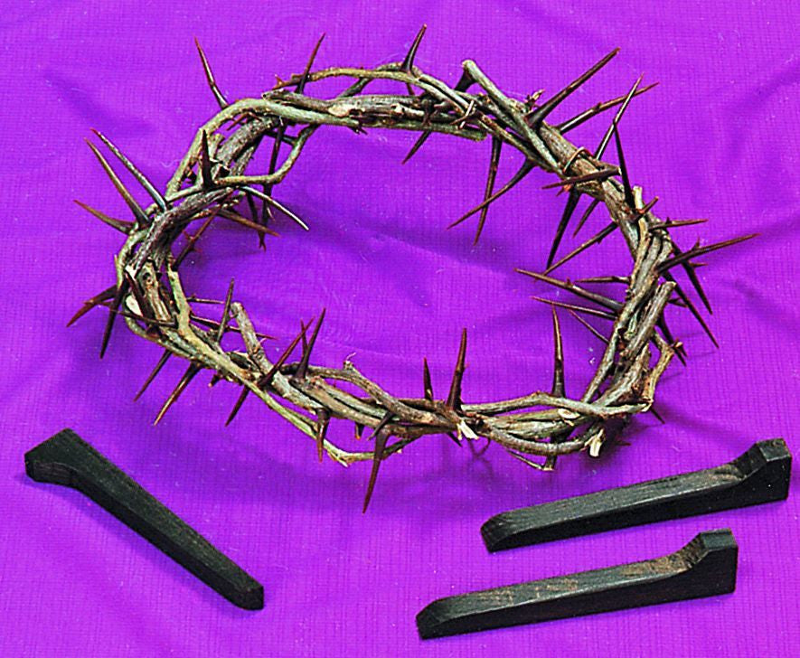 Lent/Easter Set - Crown of Thorns, Nails and Purple Cloth