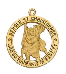 "Saint Christopher Gold Sterling Silver Medal - 24"" Chain and Gift Box"