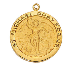 "St. Michael - Gold Sterling Silver Medal w. 24"" Chain & Gift Box"