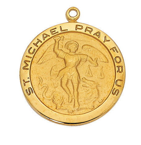 St. Michael - Gold Sterling Silver Medal w. 24