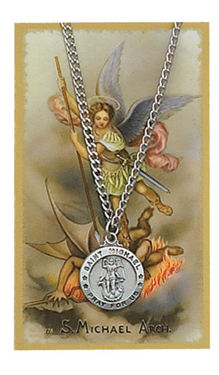 Saint Michael Pewter Medal Pendant with Holy Prayer Card