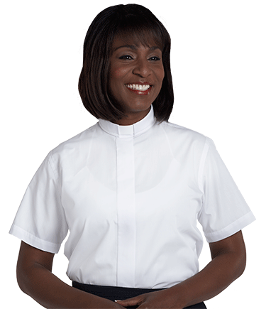 Womens Tab Collar Clergy Shirt - White