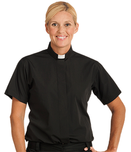 Womens Tab Collar Clergy Shirt - Black