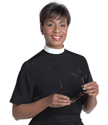 Womens Clergy Blouse Neckband - Black
