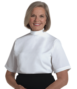 Womens Clergy Blouse Neckband - White