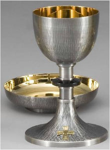 Chalice and Paten - Straight Hammered Silver Oxidized - Z480B