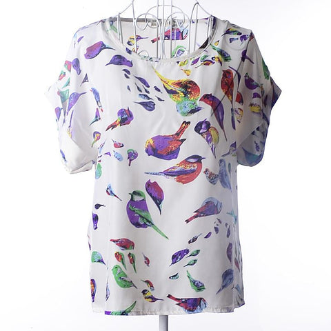 2015 New Print Chiffon Women Blouse 19 Patterns Blouse Free Shipping O-Neck Short Sleeve Drop Shipping Blouse 5 size S-XXL