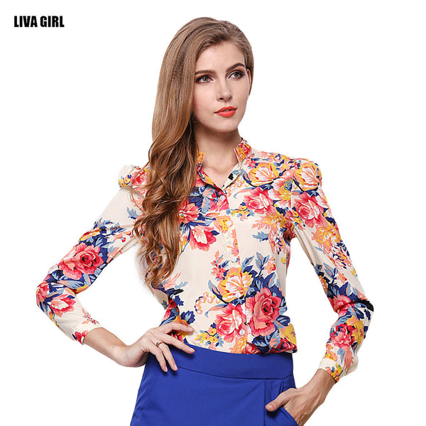 Fashion Women Spring&Summer Shirts Printed Chiffon Blouse Tops Casual Full Sleeve Stand Collar Shirts Slim Fit Office Clothing