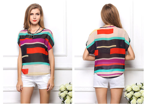 European and American Fashion Style Rainbow Colored Batwing Short Sleeve Loose Chiffon Irregular Striped Female's Blouse