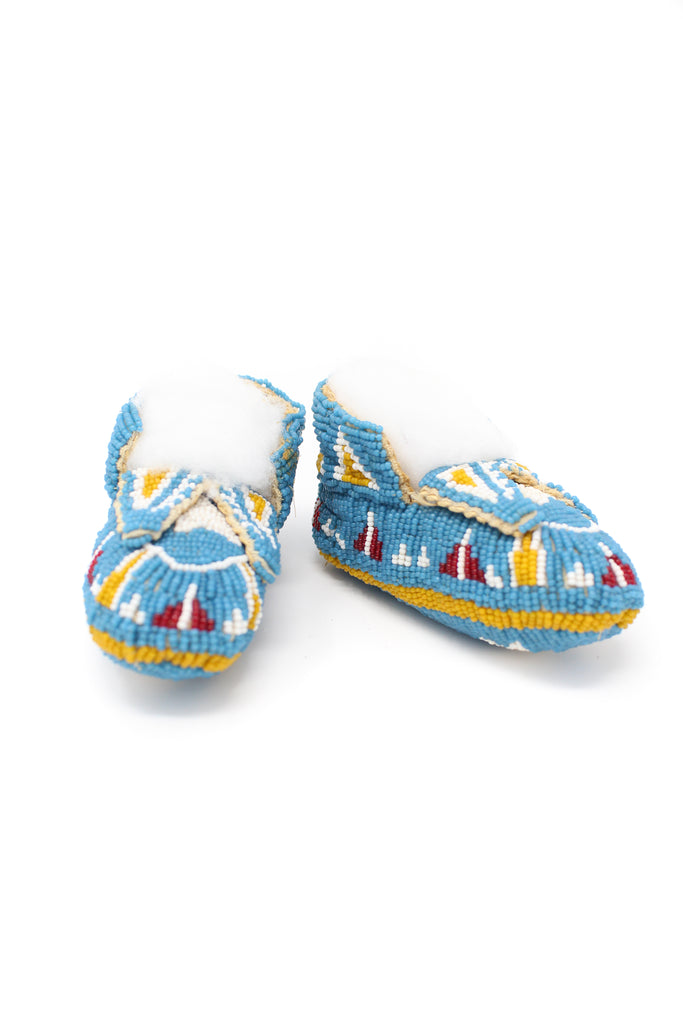 Lakota Style Fully Beaded Baby Moccasins