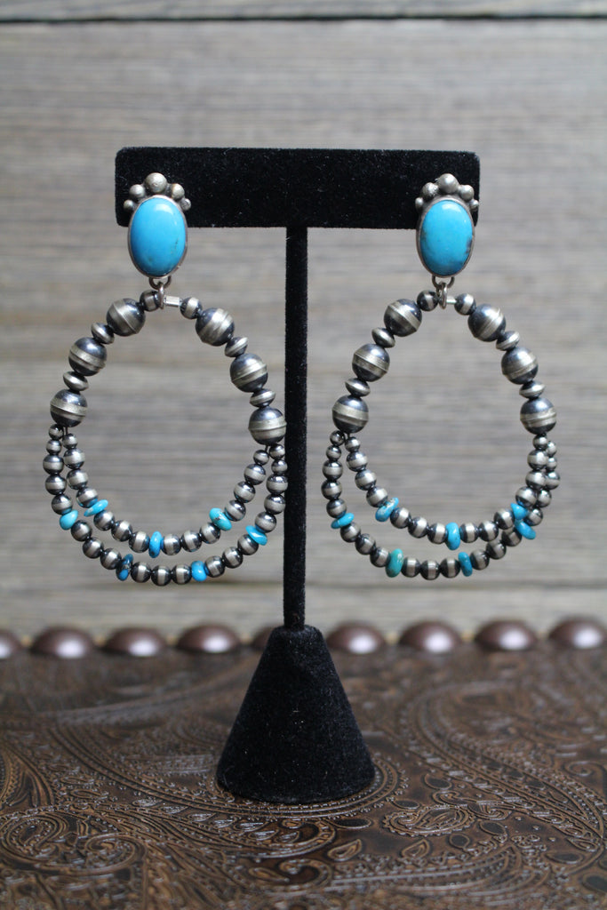 Sleeping Beauty Turquoise and Sterling Silver Earrings