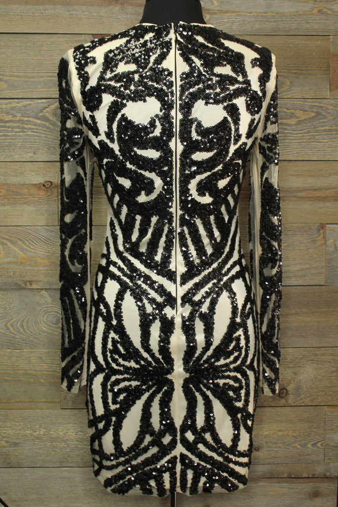 Ivory Colored Dress with Black Sequin Design