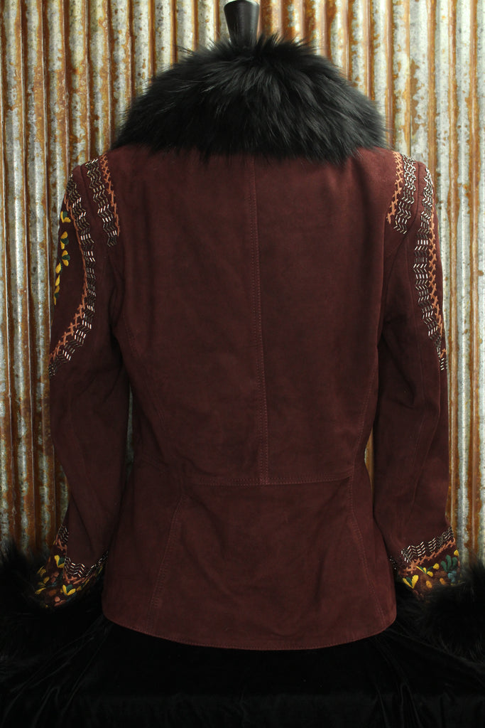 Merlot Leather Jacket with Fur Collar & Cuffs